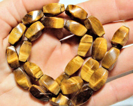 245.5 Tcw. Natural Tiger Eye Bead Strand - Gorgeous