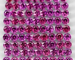 9.58 Ct 85pcs. 2.7mm Round 100% Natural Neon Purple Rhodolite Garnet Malawi