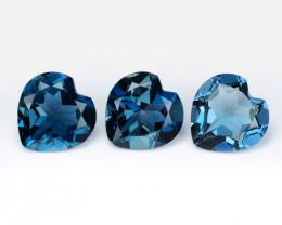 *NoReserve*Topaz 3.87 Cts 3 Pcs London Blue Natural Gemstone