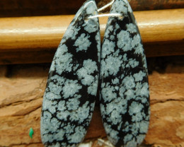 Snow flake obsidian earring pair (G2753)