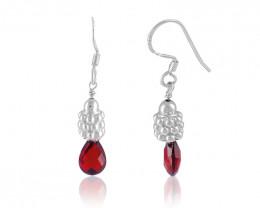 Garnet 925 Sterling silver earrings #33440