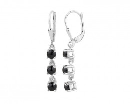 Black Spinel 925 Sterling silver earrings #33513