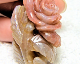 118.5 Carat Carved Agate Rose Luck Charm Pendant