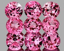 3.00 mm Round 9 pcs 1.10ct Pink Tourmaline [VVS]