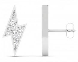 Lightning Bolt - White Topaz 925 Sterling silver earrings #33530