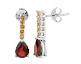 Garnet Citrine 925 Sterling silver earrings #7752