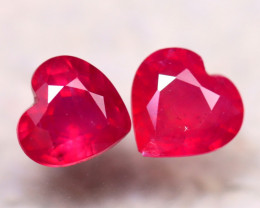 Ruby 4.00Ct 2Pcs Heart Shape Madagascar Blood Red Ruby DN101/A20