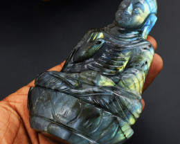 Genuine Crystal  -  Amazing Flash Labradorite Carved Buddha