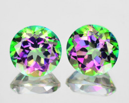 ~RAINBOW~ 5.32Cts Natural Mystic Topaz 8mm Round 2 Pcs Brazil