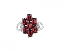Garnet 925 Sterling silver ring #36491