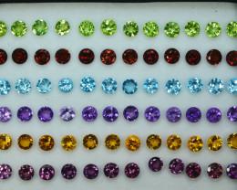 21.10Cts Natural Fancy colour semi precious Round 4mm Calibrated  Par