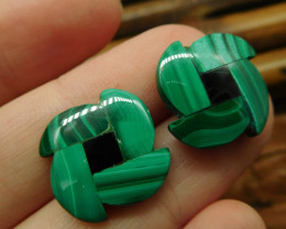Gemstone malachite earring stud (5)