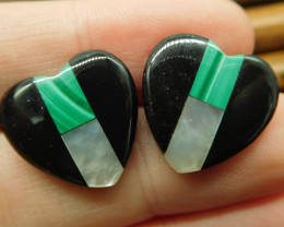 Gemstone malachite shell obsidian heart shape earring stud (6)