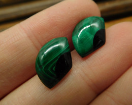 Tiny earring stud earring pair malachite earring(10)