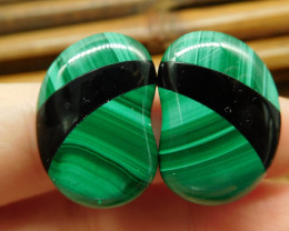 Intarsia malachite obsidian earring pairs for lover(11)
