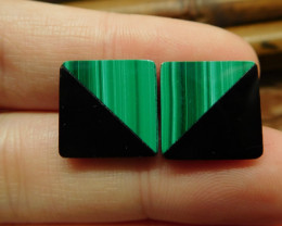 Square shape malachite earring stud jewelry for women (12)