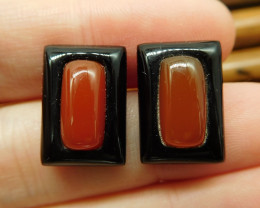 Obsidian red agate earring pair stud (19)