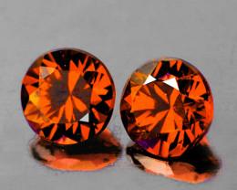5.50 mm Round Diamond Cut 2 pcs 1.90ct Orange Zircon [VVS]