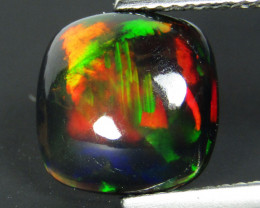 2.12Cts Natural Earth Mined Color Play Black Opal Cushion  Cabochon Gem REF