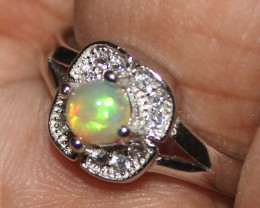 Natural Ethiopian Welo 925 Silver Opal Ring 43