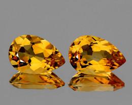 9x6 mm Pear 2pcs 2.40cts Golden Yellow Citrine [VVS]