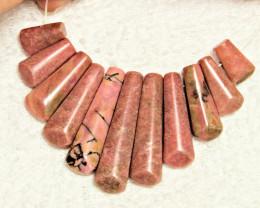 210.5 Total Carat Weight Natural Pink Rhodonite Fan- Gorgeous