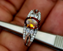 14.82Crt Madeira Citrine 925 Silver Ring 7 Natural Gemstones JI19