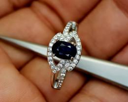 16Crt Sapphire 925 Silver Ring 8 Natural Gemstones JI19