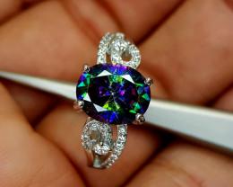 23Crt Mystic Quartz 925 Silver Ring 9 Natural Gemstones JI19