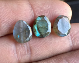 NATURAL LABRADORITE 3 Pcs Rose Cut Gemstones VA5741