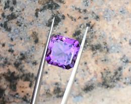 6.25 Ct Natural Purple Transparent Asscher Flower Cut Amethyst Gemstone