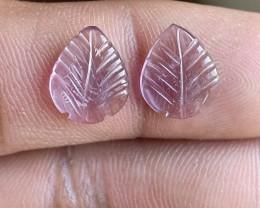 Carved Amethyst Gemstone leaf Pair 100% Natural VA5745