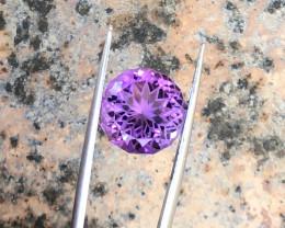 6.30 Ct Natural Purple Transparent Round Flower Cut Amethyst Gemstone