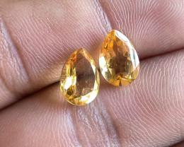 Lemon Quartz Pair 100% Natural+Untreated Gemstones VA5754