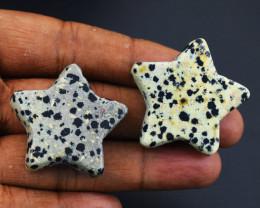 Genuine Pair of Dalmation Jasper Carved Stars