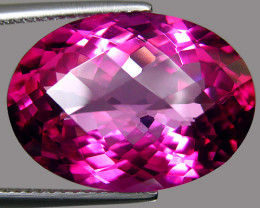 13.70Cts Genuine Amazing Natural Pink Topaz Oval Checker Cut  Loose Gemston