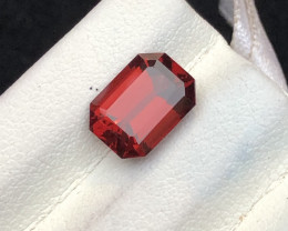 Umbalite Loupe Clean 3.10 cts Emerald Cut Garnet Natural Dark Color Ring Si