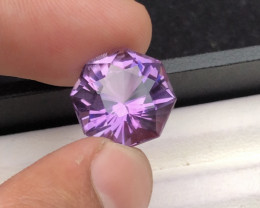 Top Grade 11.55 ct Flower Cut Amethyst Ring Size
