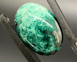 Mexican Chrysocolla with metallic Cuprite Cabochon