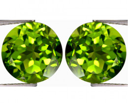 5.00Cts Genuine Excellent Natural Peridot Round 8mm Matching Pair REF VIDEO
