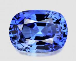 GIA certified, high gem custom cushion cut natural blue sapphire.