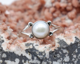 PEARL RING 925 STERLING SILVER NATURAL GEMSTONE JR1176