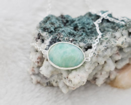 AMAZONITE NECKLACE NATURAL GEM 925 STERLING SILVER JN140