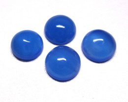 3.73tcw Blue Chalcedony Matching Four Round Cabochons