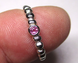 8tcw Sterling Silver Solitaire Ring With Round Pink Tourmaline