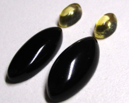 3.53tcw Onyx and Citrine Matching Oval Set