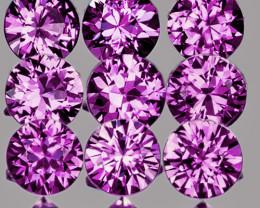 2.50 mm Round 9 pcs 0.78ct Pinkish Purple Sapphire [VVS]