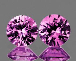 3.50 mm Round Machine Cut 2 pcs 0.41ct Pink Sapphire [VVS]