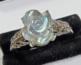 Natural MoonStone Rose Carving 925 Silver Ring