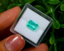 1.72Ct Colombian Muzo Emerald Neon Mint Green Beryl EM01